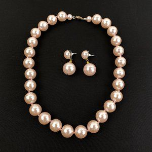 Necklace And Earrings Vintage Faux Pink Pearls
